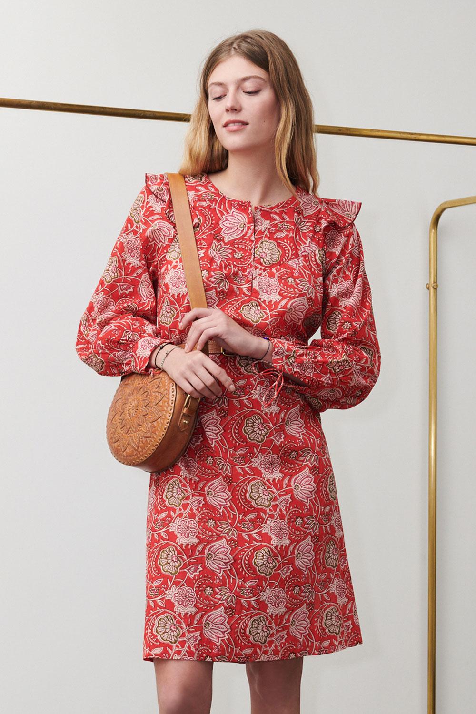 Robe imprimée Jody rouge - Antik Batik (photo)