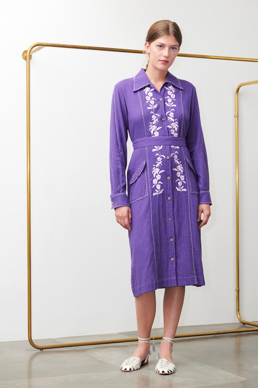 Robe brodée Karamba violette - Antik Batik (photo)