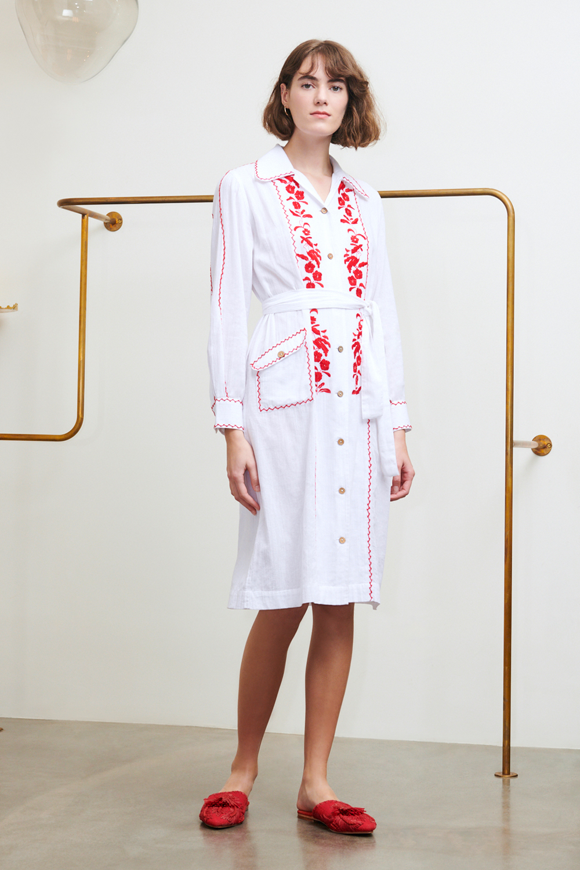 Robe brodée Karamba blanche - Antik Batik (photo)