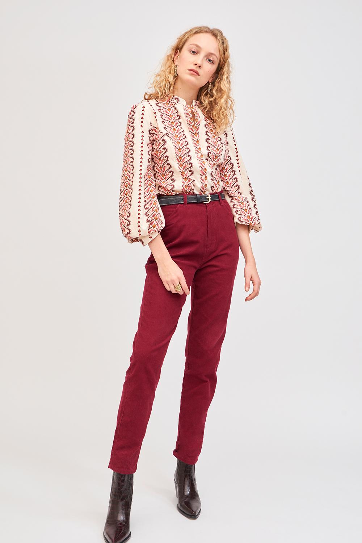 Pantalon en velours côtelé Foly - Bordeaux - Antik Batik (photo)