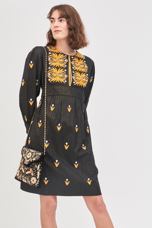 Robe courte brodée Mexi - Noir - Antik Batik (photo)