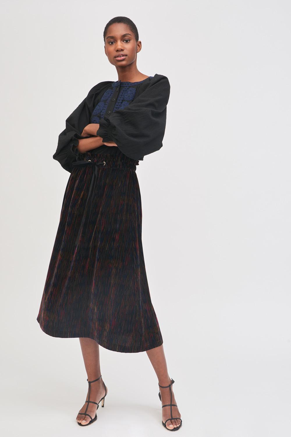 Jupe mi-longue en velours imprimé Flama - Antik Batik (photo)