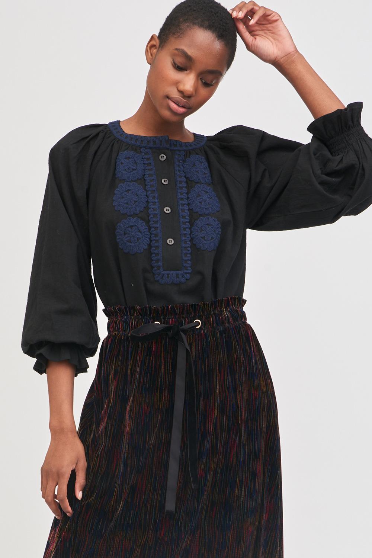 Blouse ample brodée Zida - Noir - Antik Batik (photo)