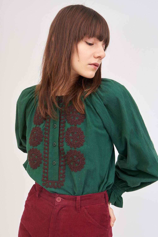 Blouse ample brodée Zida - Vert - Antik Batik (photo)