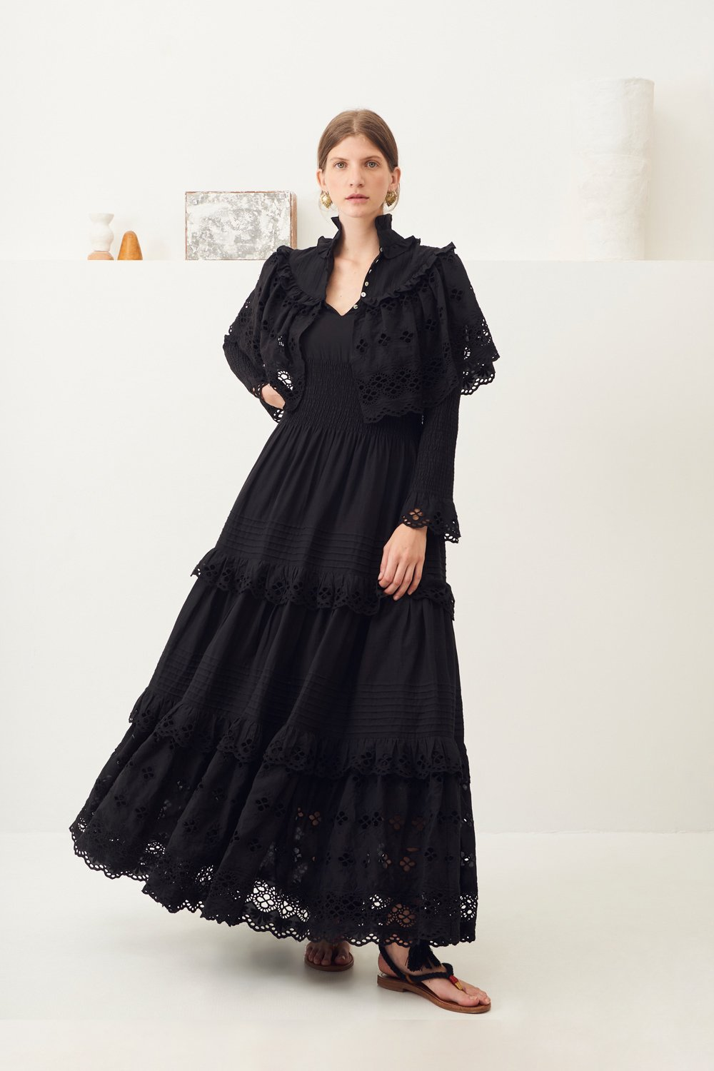 Maxi robe dentelle Ally - Noir - Antik Batik (photo)