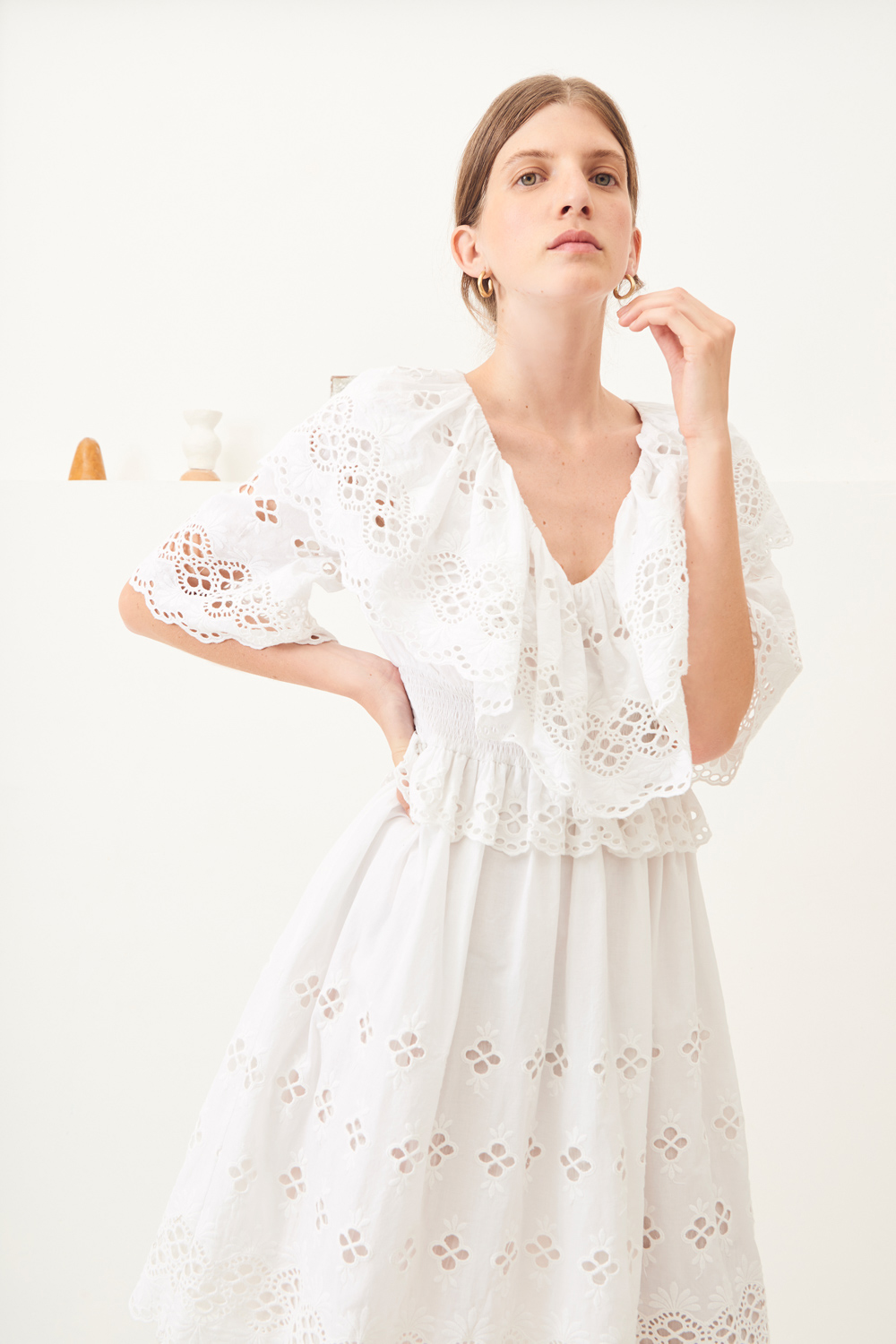 Robe courte dentelle Ally - Blanc - Antik Batik (photo)