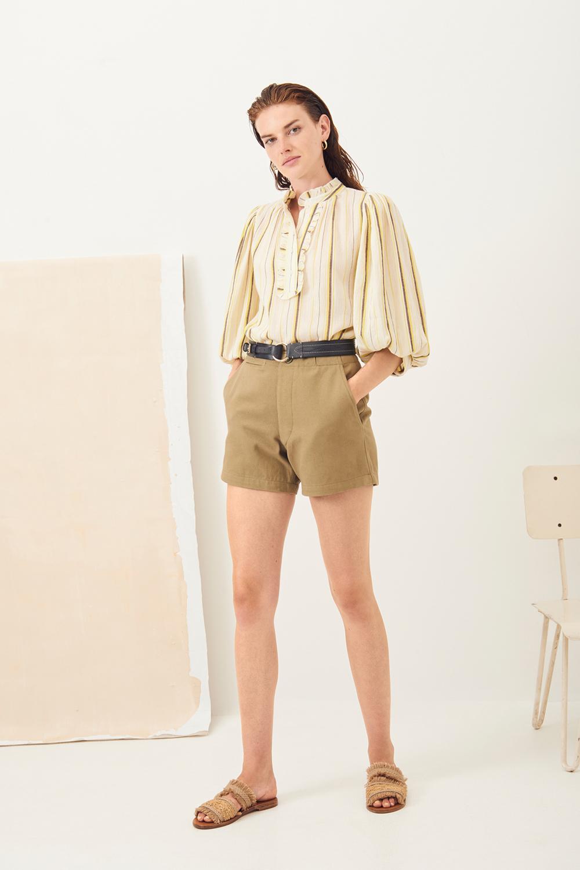 Short taille haute coton Ronan - Kaki - Antik Batik (photo)
