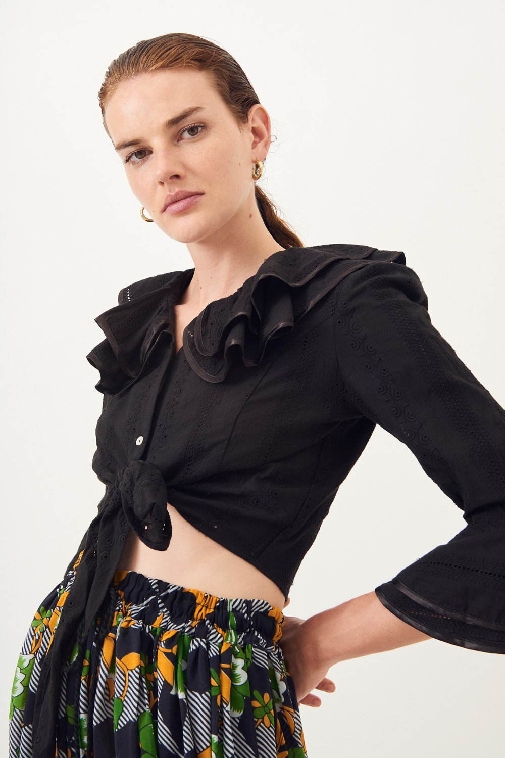 Crop top dentelle Ally - Noir - Antik Batik (photo)