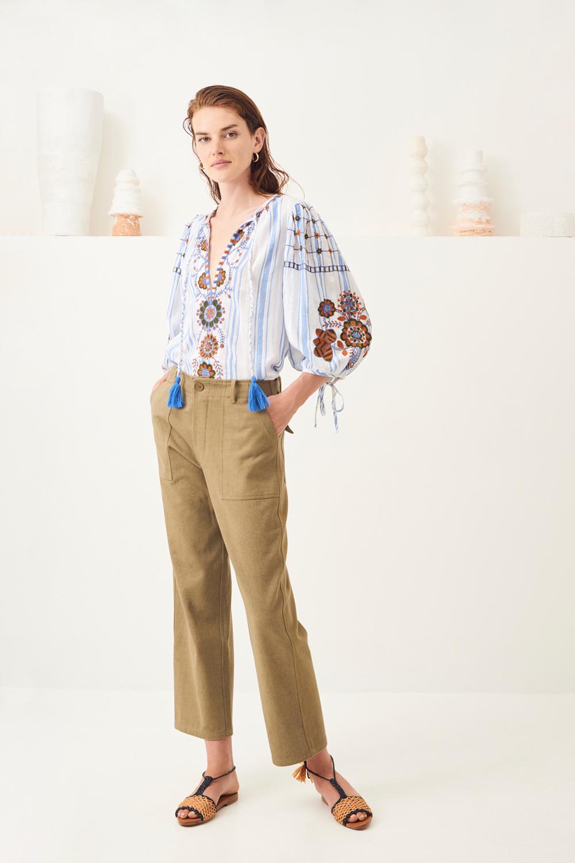 Pantalon chino coton Ronan - Kaki - Antik Batik (photo)