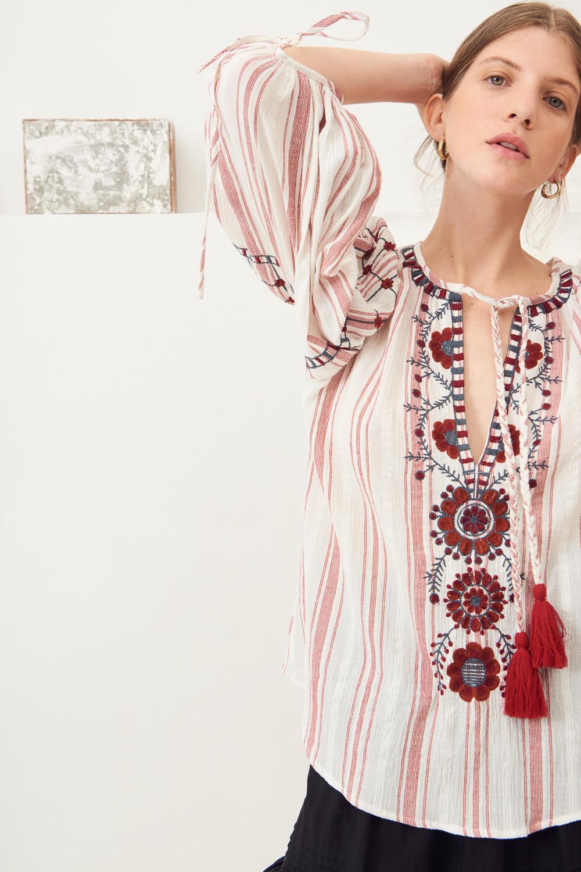 Blouse brodée coton Camilla - Rouge - Antik Batik (photo)