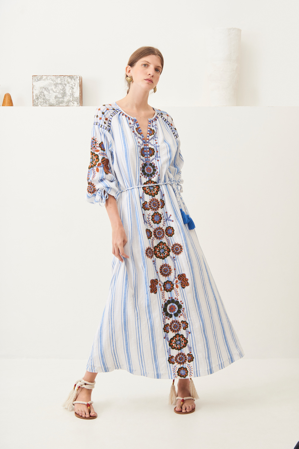 Robe longue brodée coton Camilla - Bleu - Antik Batik (photo)