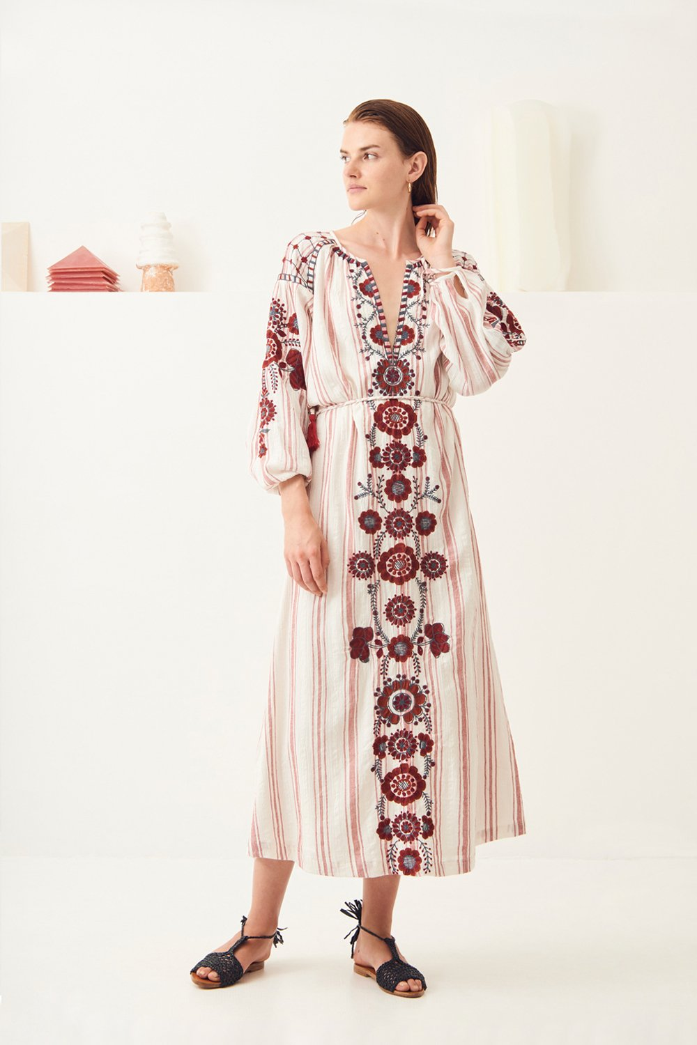 Robe longue brodée coton Camilla - Rouge - Antik Batik (photo)