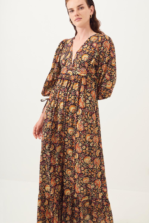 Robe longue fluide imprimée Chérie - Noir - Antik Batik (photo)