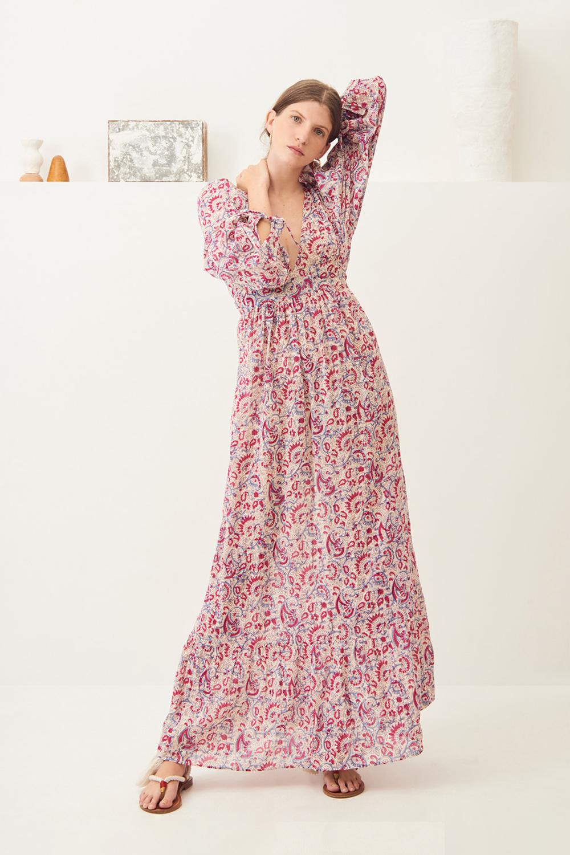 Robe longue fluide imprimée Chérie - Rose - Antik Batik (photo)