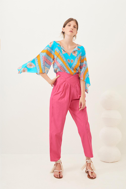 Pantalon carotte popeline Popy - Rose - Antik Batik (photo)