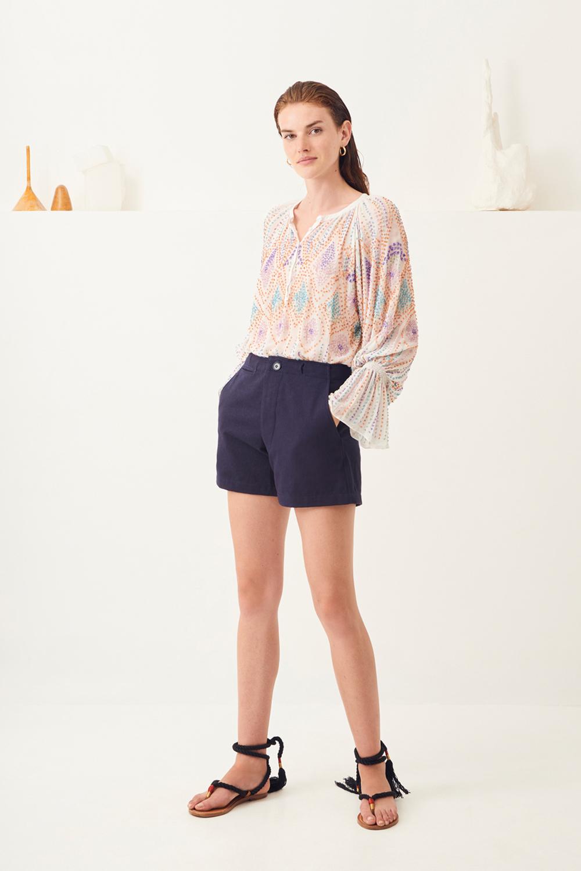 Short taille haute coton Ronan - Bleu marine - Antik Batik (photo)