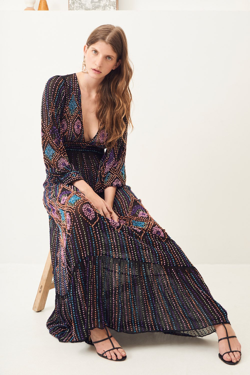 Robe longue brodée Emilia - Noir - Antik Batik (photo)