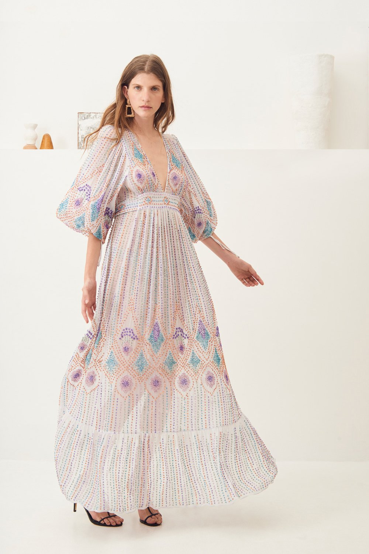 Robe longue brodée Emilia - Blanc - Antik Batik (photo)