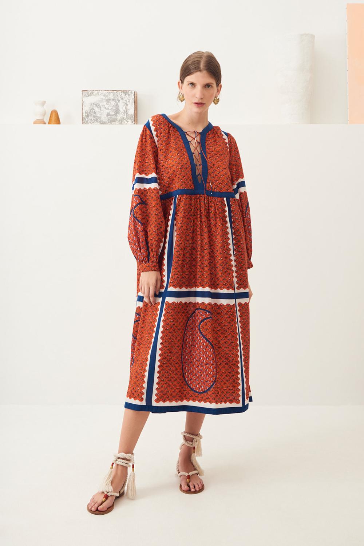 Robe mi-longue coton Gisele - Rouge - Antik Batik (photo)