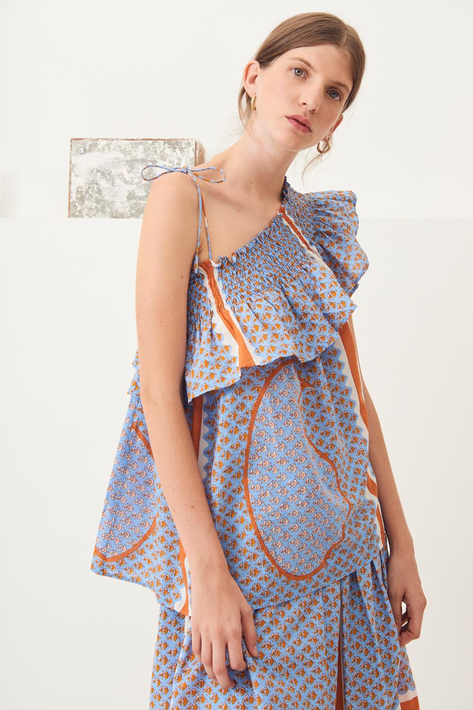 Haut épaule dénudée Gisele - Bleu ciel - Antik Batik (photo)