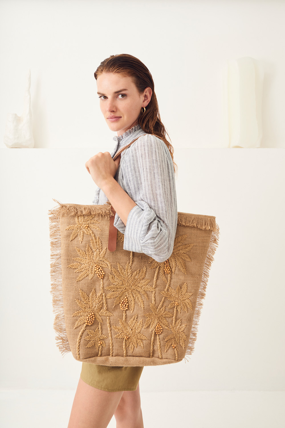 Grand sac raphia Barry - Beige - Antik Batik (photo)