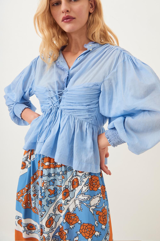 Blouse fluide à lacets Lary - Bleu ciel - Antik Batik (photo)