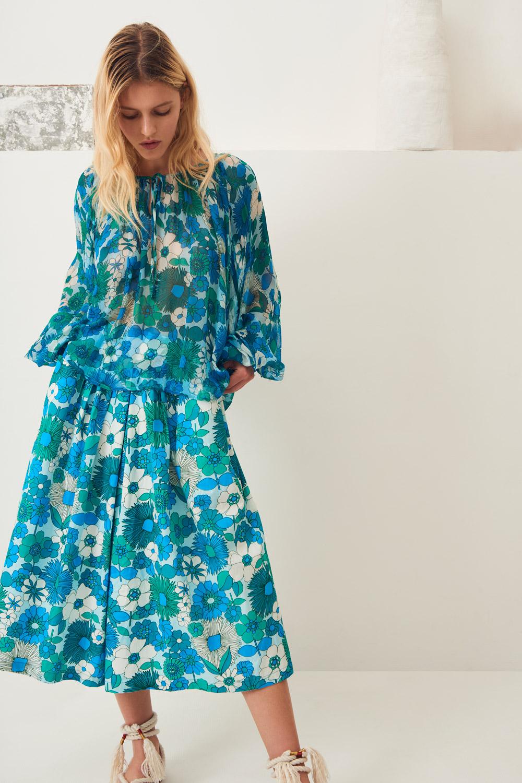 Jupe culotte popeline Lorette - Bleu - Antik Batik (photo)