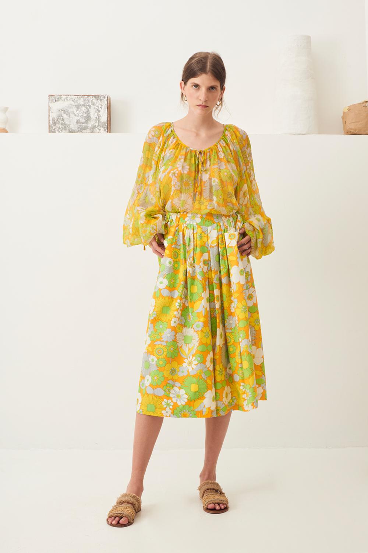 Jupe culotte popeline Lorette - Jaune - Antik Batik (photo)