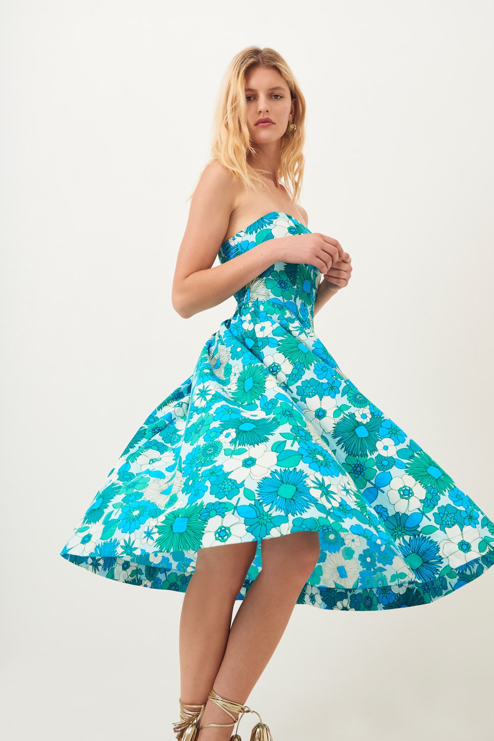 Robe bustier midi Lorette - Bleu - Antik Batik (photo)