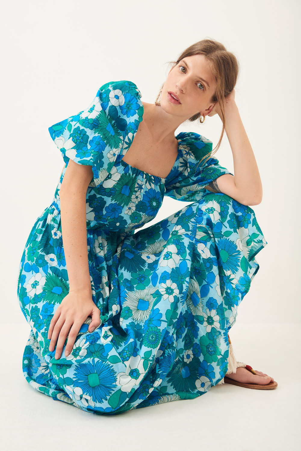 Robe longue dos nu Lorette - Bleu - Antik Batik (photo)
