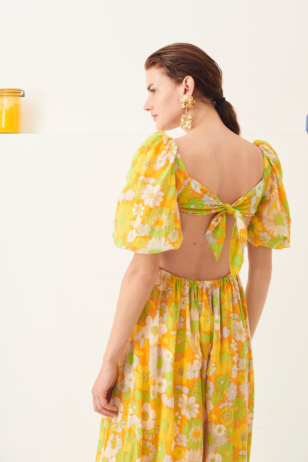 Robe longue dos nu Lorette - Jaune - Antik Batik (photo)