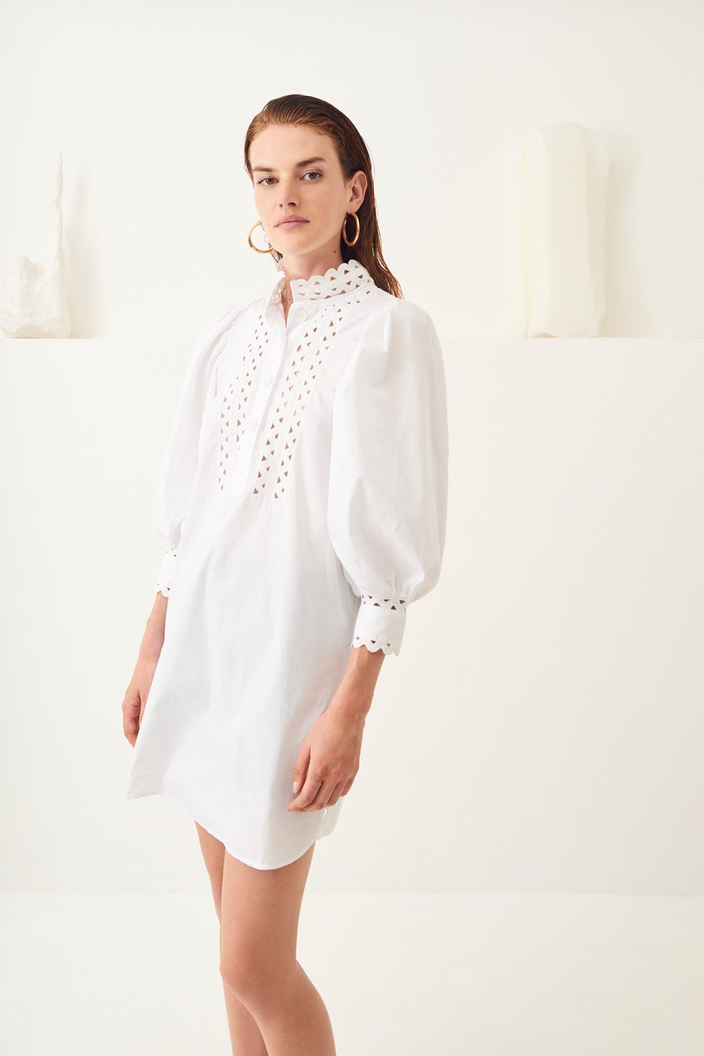 Robe courte manches bouffantes popeline Malia - Blanc - Antik Batik (photo)