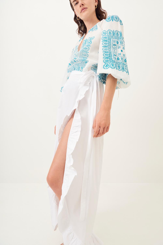 Jupe longue fendue Popy - Blanc - Antik Batik (photo)