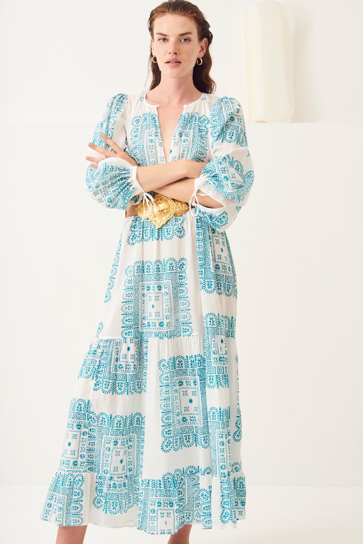 Robe longue fluide ethnique Nalii - Crème - Antik Batik (photo)