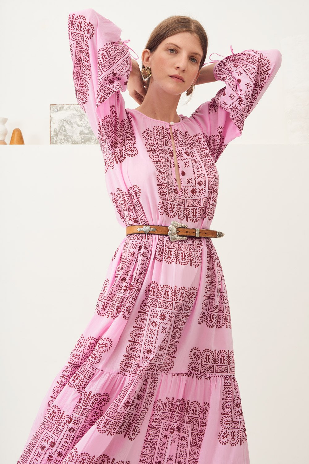 Robe longue fluide ethnique Nalii - Rose - Antik Batik (photo)