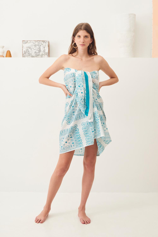 Paréo coton ethnique Nalii - Bleu - Antik Batik (photo)