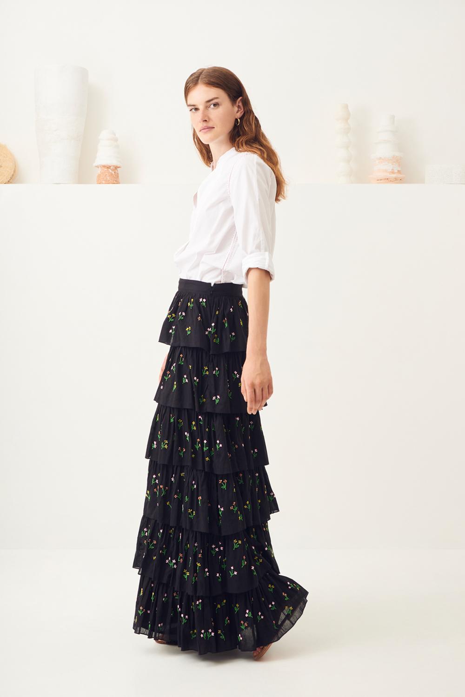 Jupe longue brodée Oriane - Noir - Antik Batik (photo)