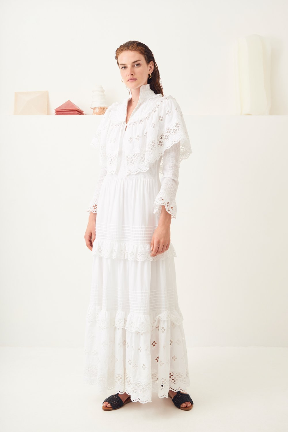 Maxi robe dentelle Ally - Blanc - Antik Batik (photo)