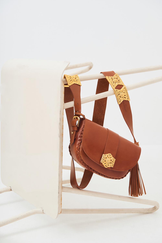 Sac bandoulière cuir camel Gala - Antik Batik (photo)
