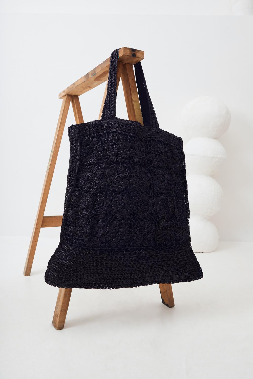 Cabas oversize raphia - Noir - Antik Batik (photo)