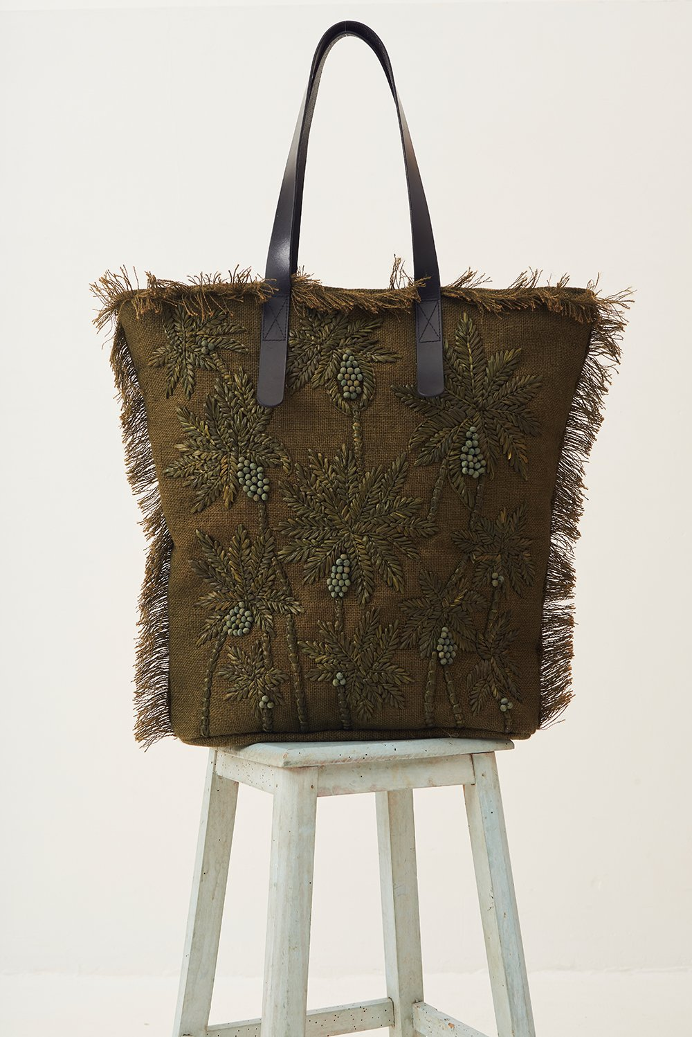 Grand sac raphia Barry - Kaki - Antik Batik (photo)
