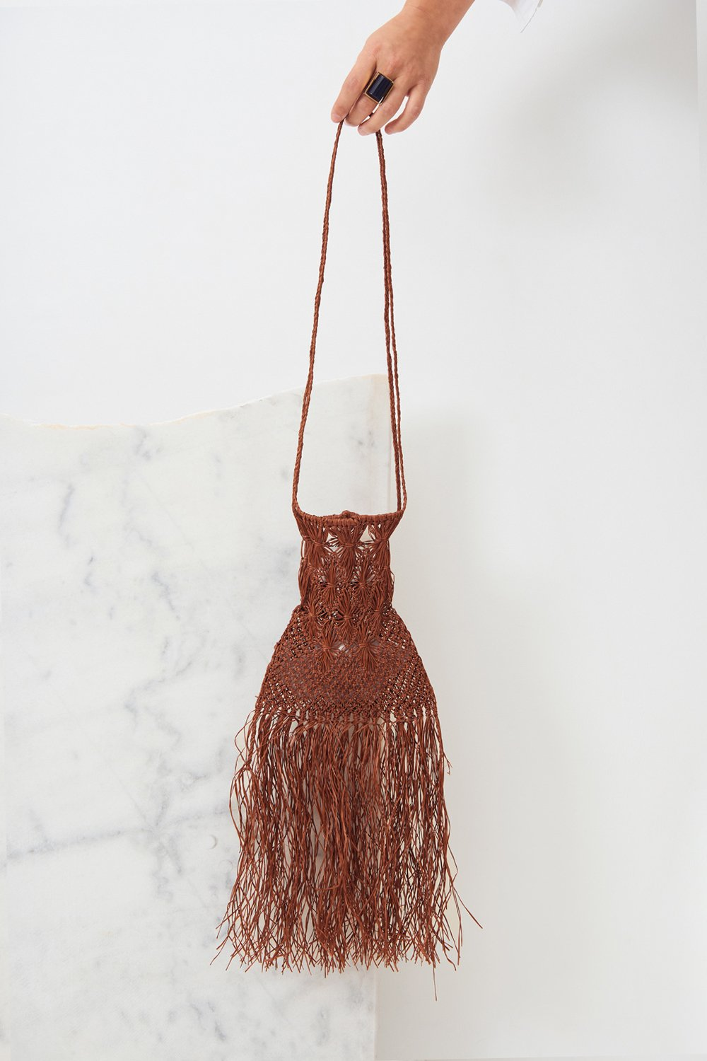 Mini-sac raphia Biim - Marron - Antik Batik (photo)