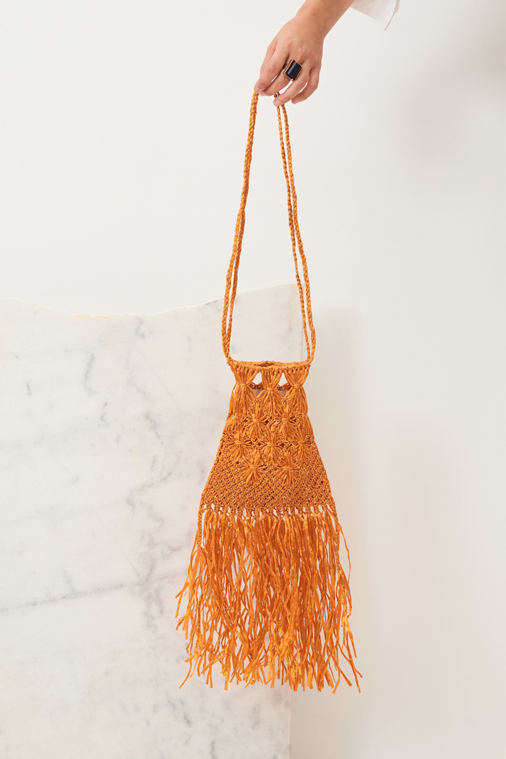 Mini-sac raphia Biim - Orange - Antik Batik (photo)