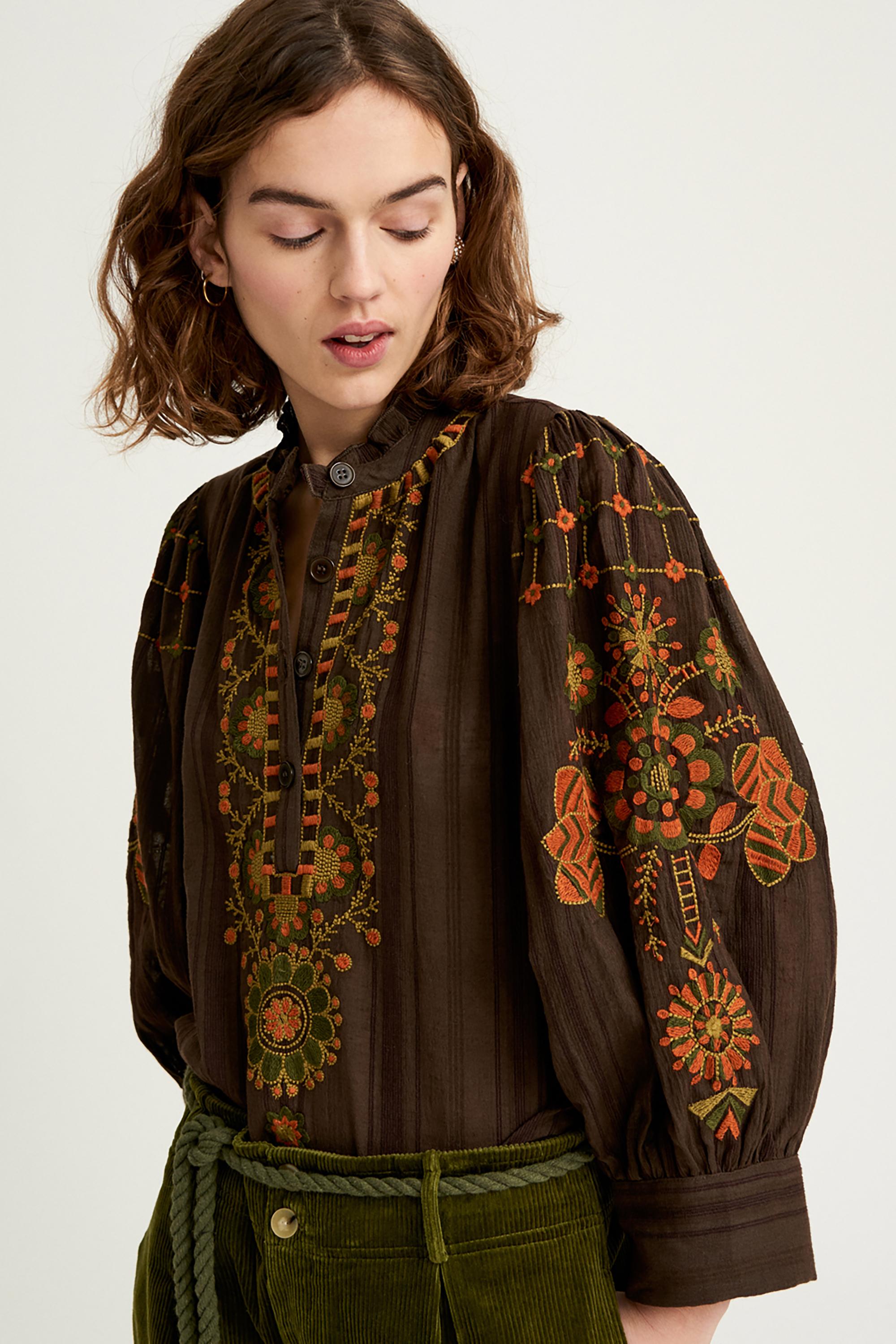 Blouse brodée Cami - Marron - Antik Batik (photo)
