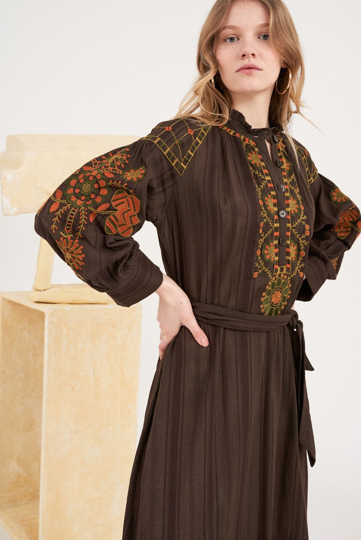Robe longue brodée Cami - Marron - Antik Batik (photo)