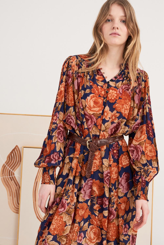 Robe à imprimé fleuri Camille - Bleu marine - Antik Batik