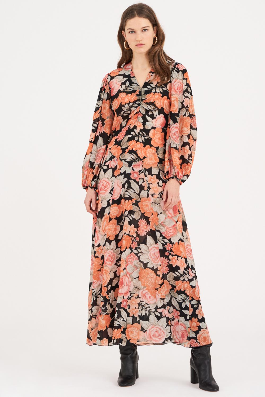 Robe longue à imprimé fleuri Camille - Noir - Antik Batik