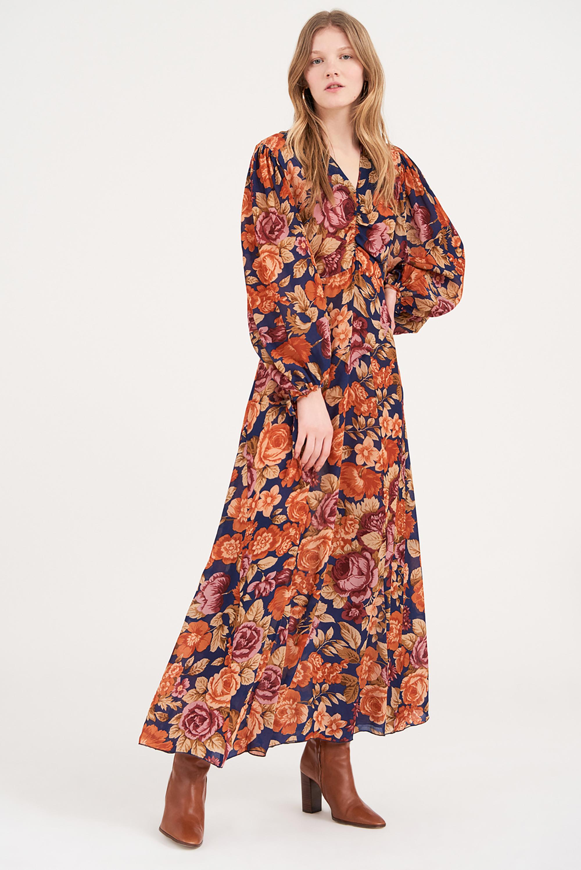Robe longue à imprimé fleuri Camille - Bleu marine - Antik Batik