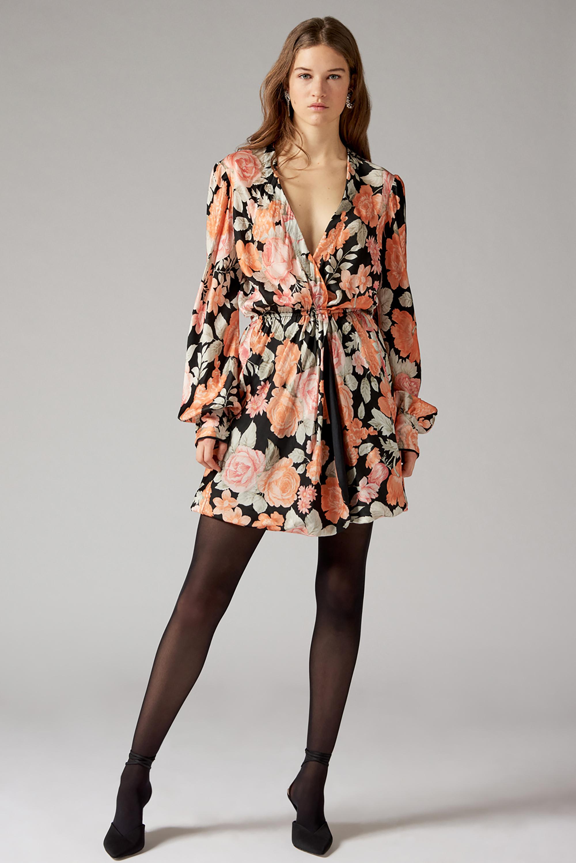 Robe portefeuille à imprimé fleuri Camille - Noir - Antik Batik