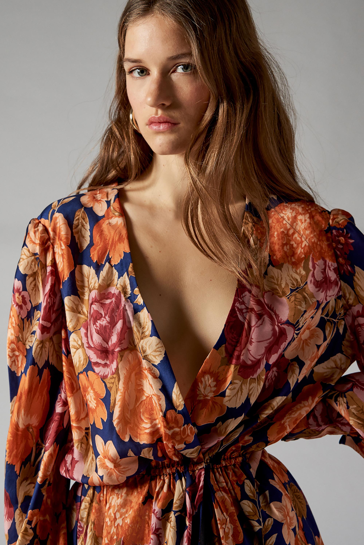 Robe portefeuille à imprimé fleuri Camille - Bleu marine - Antik Batik